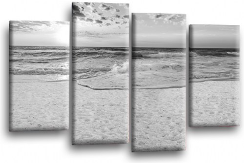 Sunset Seascape Canvas Picture Wall Art Beach Print Grey White